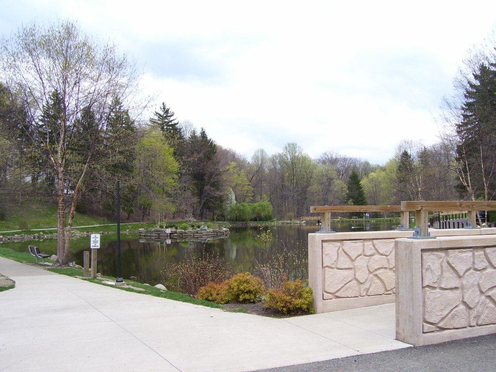 Bridge and Pond in Park
